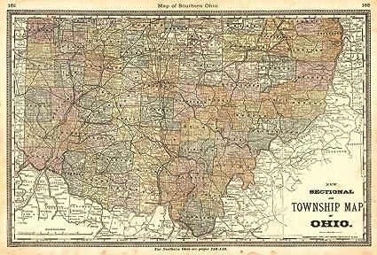Amazon.com: Historic Map   1883 Map of Southern Ohio   Hardesty ...