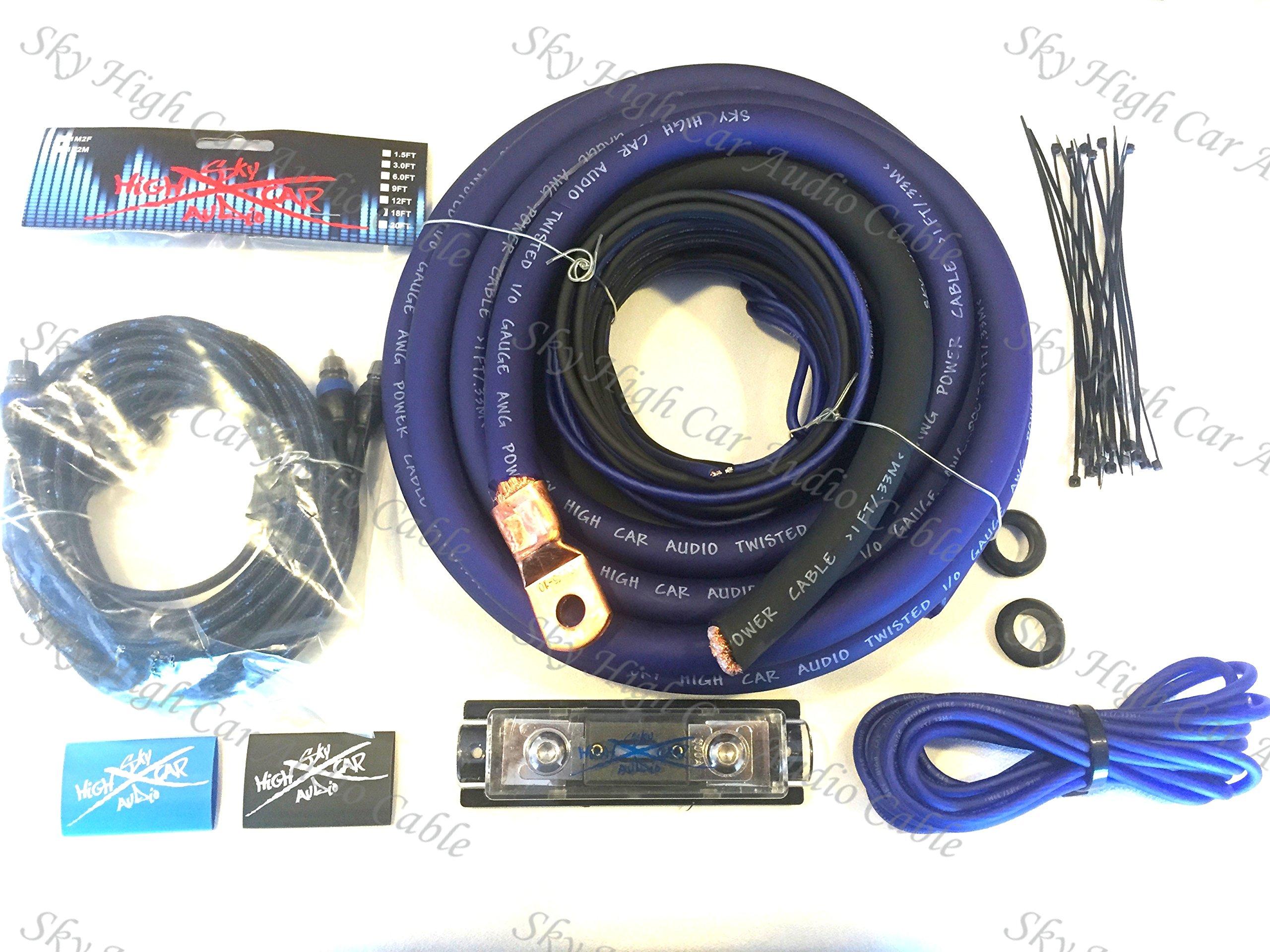 Oversized 1/0 Ga OFC AWG Amp Kit Triple Shielded RCA Blue Black Complete Sky High