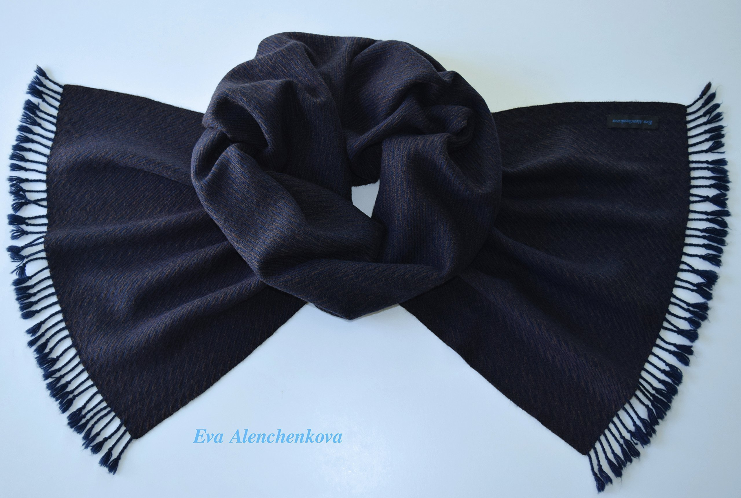Men's Cashmere Silk Merino Wool Handwoven Blue Brown Scarf
