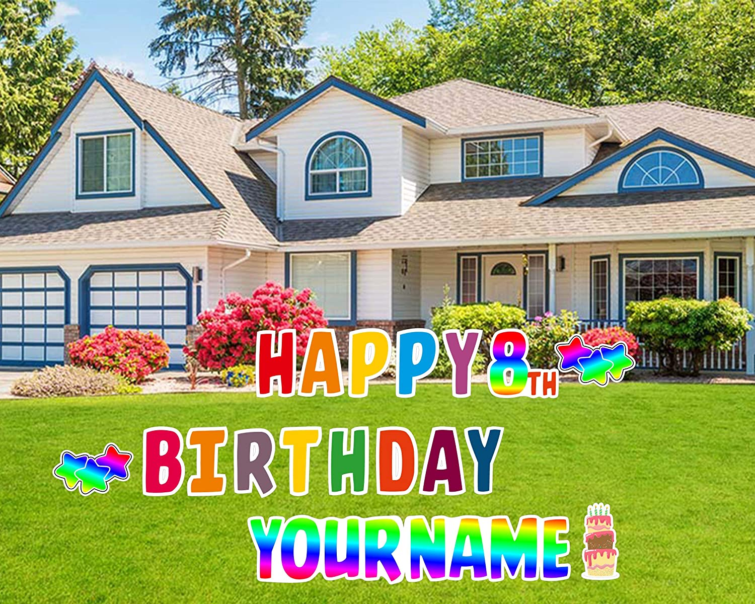 Happy Birthday Lawn Signs, Yard Signs, Outdoor Lawn Decorations, Happy Birthday Lawn Ornaments, Kids Birthday Signs, Colorful Happy Birthday (Colorful)