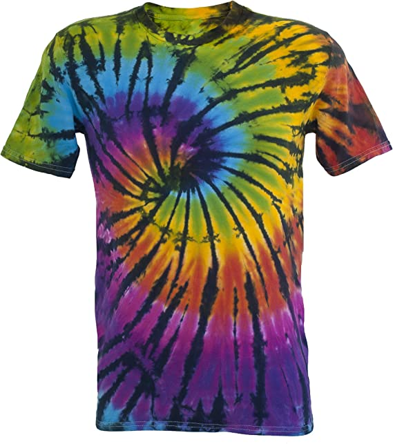 Tie Dye Contrast Rainbow/Black Spiral 701704 T-Shirt: Amazon ...