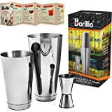 Silver Boston Shaker Cocktail Shaker Set | Professional Stainless Steel Bartender Kit - Weighted Martini Mixer, Double Jigger