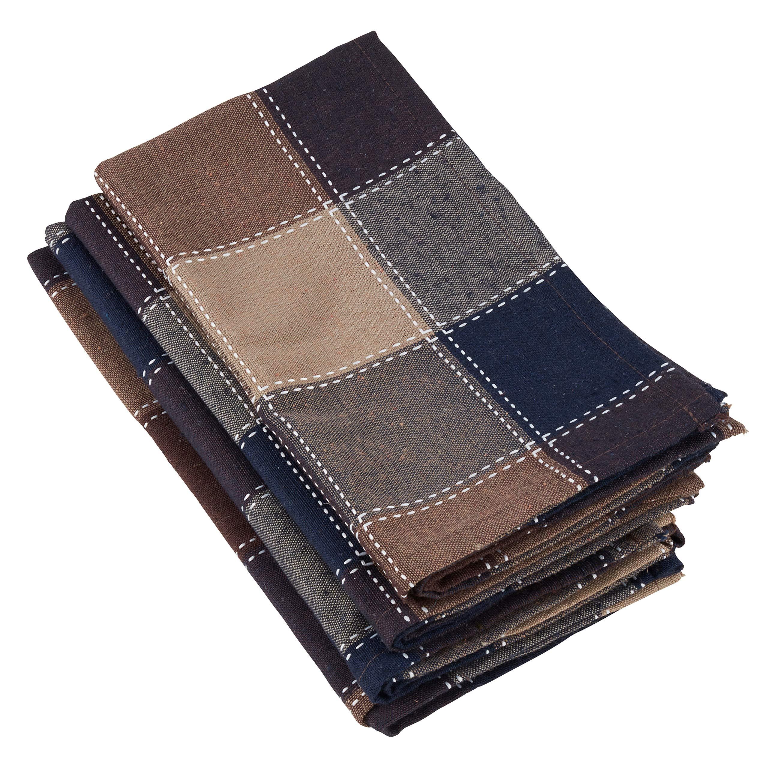 SARO LIFESTYLE 8571.BR20S Harvest Collection Stitched Plaid Design Cotton Blend Napkins (Set of 4), 20'', Brown