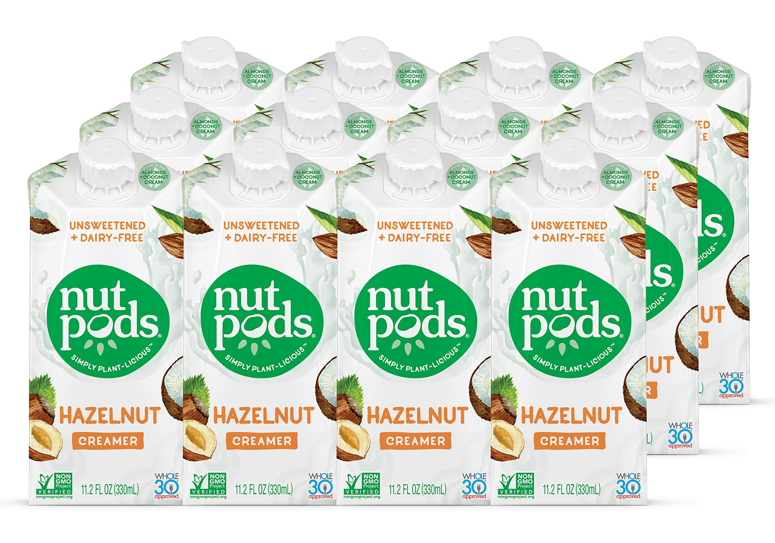 nutpods Dairy-Free Creamer Unsweetened (Hazelnut, 12-pack) - Whole30 Approved …