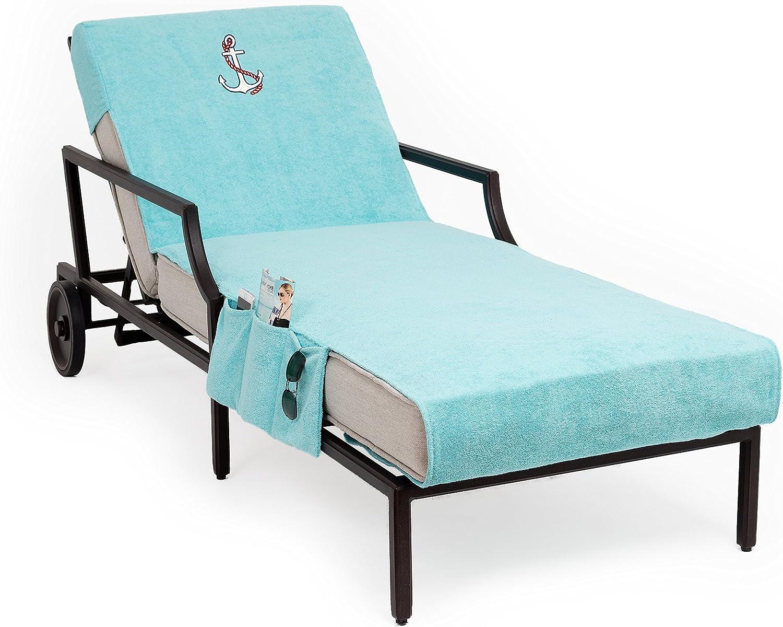 Aqua Linum Home Textiles CL45-SWP-ANC Anchor Chaise Lounge Cover