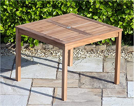 Sustainable Furniture Mesa de jardín Cuadrada de Madera de Teca Maciza de 90 cm, con Orificio para sombrilla y cenador de latón, Color marrón: Amazon.es: Jardín