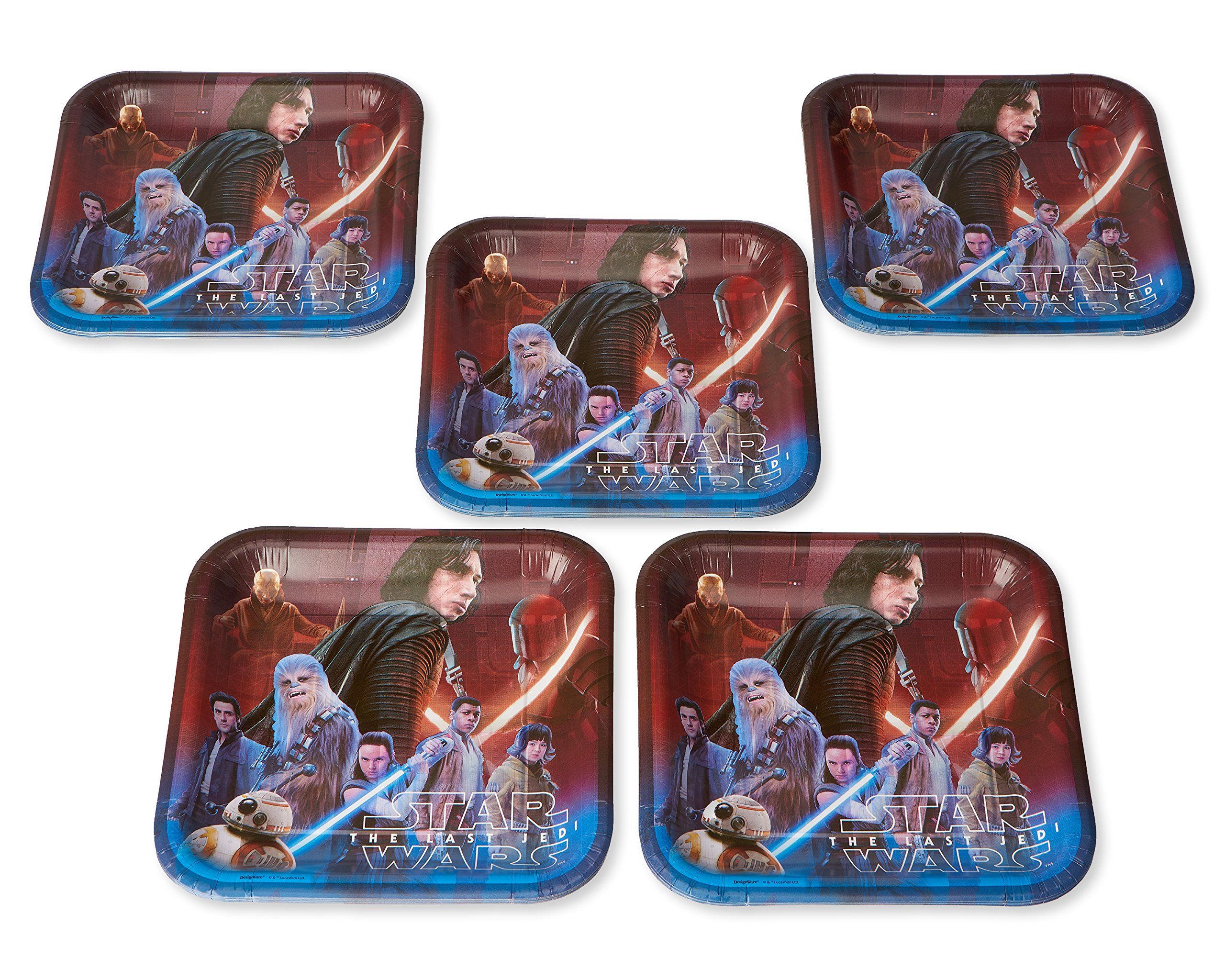 American Greetings Star Wars: the Last Jedi 40 Count Dinner Square Large Party Plates