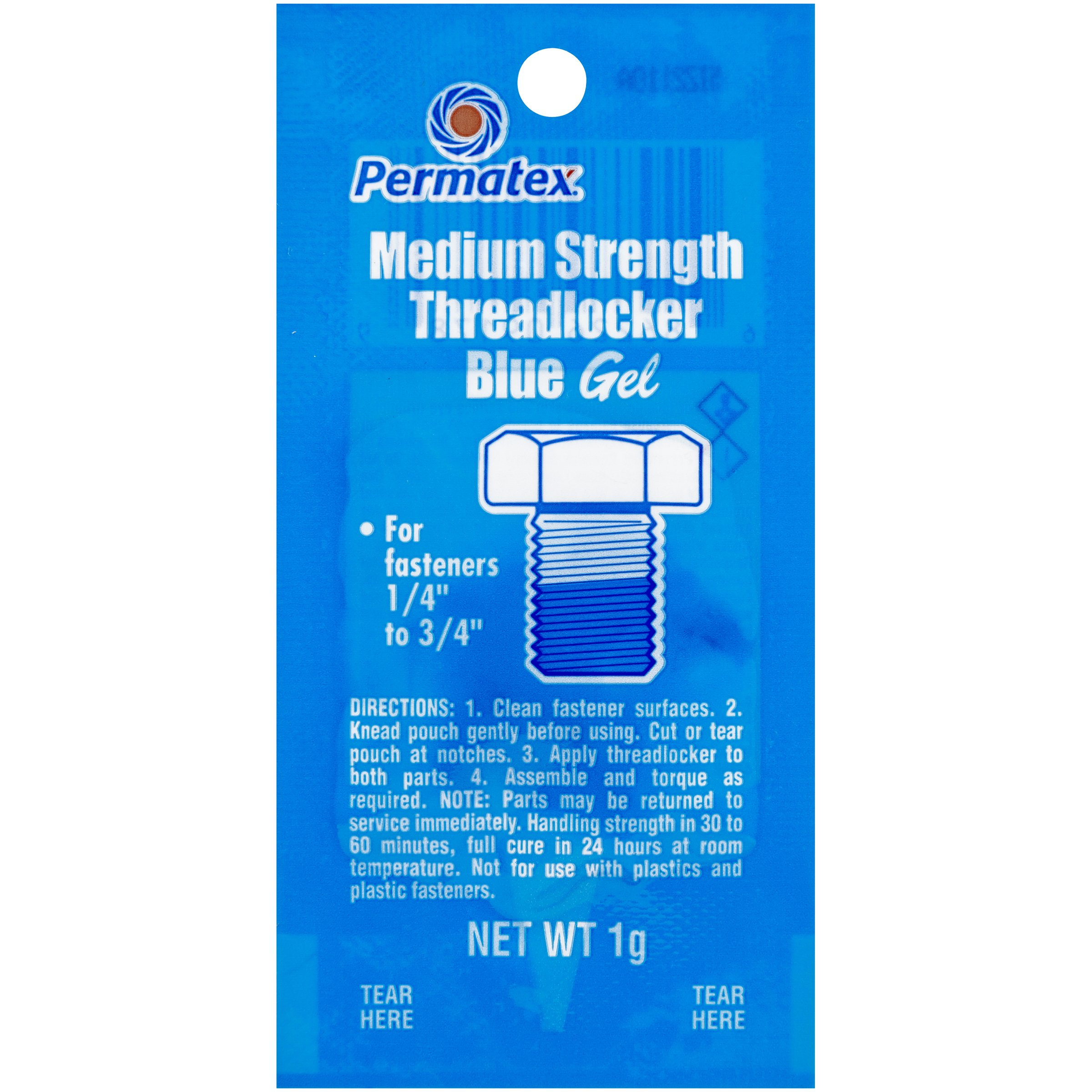 Permatex 09978-480PK Counterman's Choice Medium Strength Threadlocker Blue, 1 g Pouch (Pack of 480)