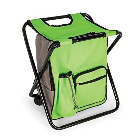 Camco Folding Camping Stool Backpack Cooler Trio- Camping Hiking Bag with Waterproof Insulated Cooler Pockets and Sturdy Legs for Seating, Great For Travel- Green 51909