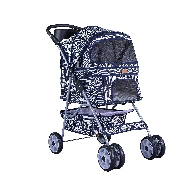 Amazon BestPet 4 Wheel Pet Stroller Classic Leopard Skin Pet Carrier Strollers Pet Supplies