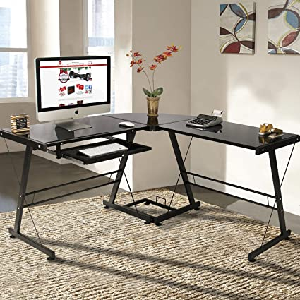 Exceptionnel Best Choice Products L Shape Computer Desk PC Glass Laptop Table  Workstation Corner Home Office
