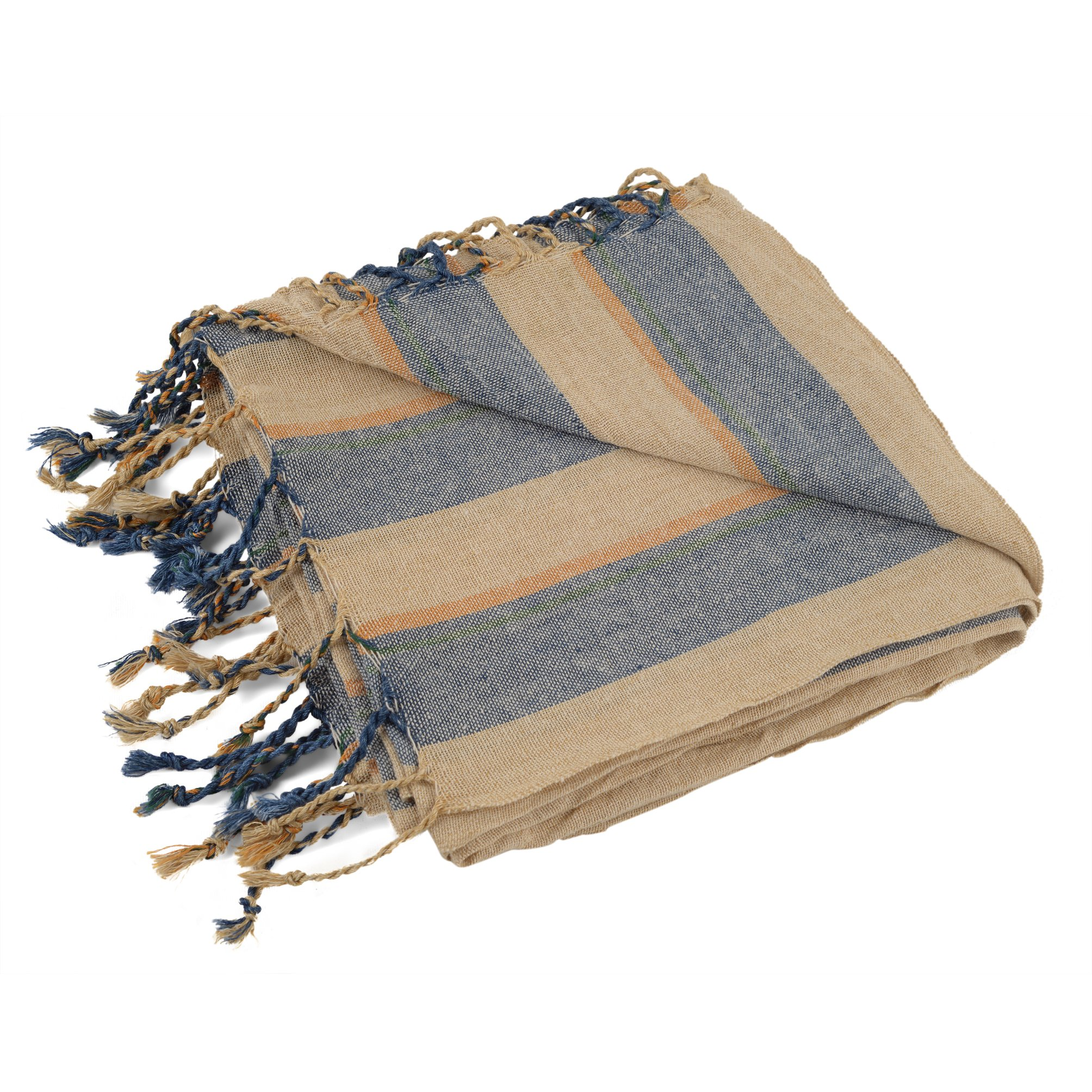 Raven's Landing Turkish Towel, Natural Linen Beach or Bath Towel, 38x79in, Large, Authentic Hamam Peshtemal, Lightweight, Quick-Drying, Fitness or Travel Perfect, (Sea Bluez)