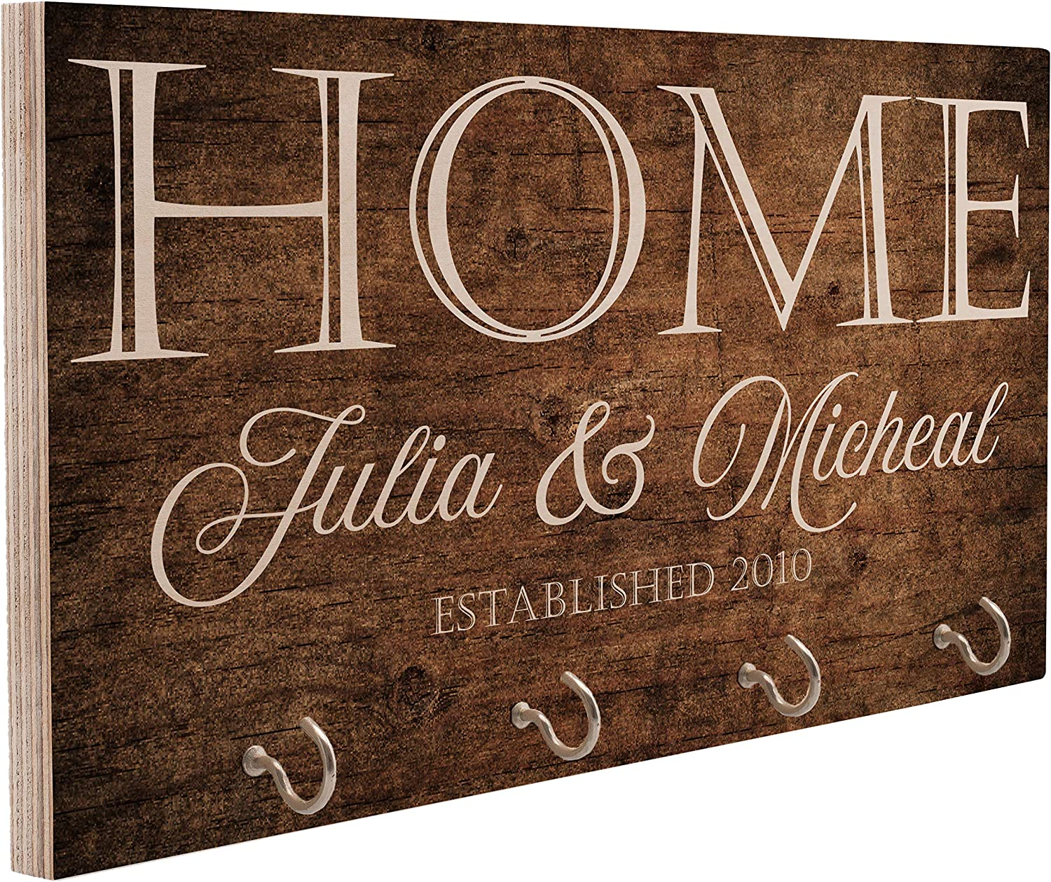 Personalized Wood Key Hanger for Wall | New Home Décor Gift for Wedding Housewarming | Customized Gifts for Couple Mr Mrs Key Ring Holder Hook | Key Rack | C02D04