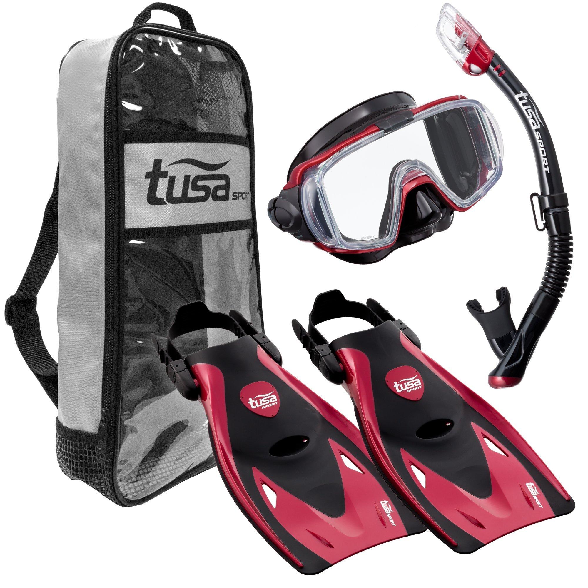 TUSA Sport Adult Black Series Visio Tri-Ex Mask, Dry Snorkel, and Fins Travel Set, Black/Metallic Red, Medium