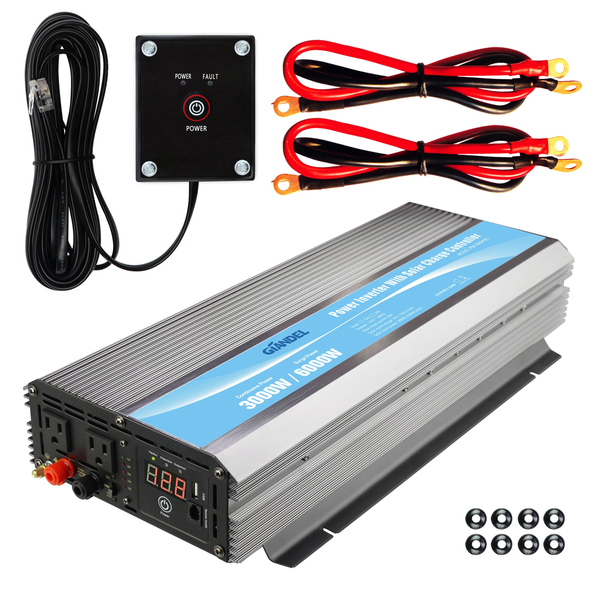 Modified Sine Wave Power Inverter 3000 Watt DC12 Volt To AC 120 Volt With Remote Control And LED Display