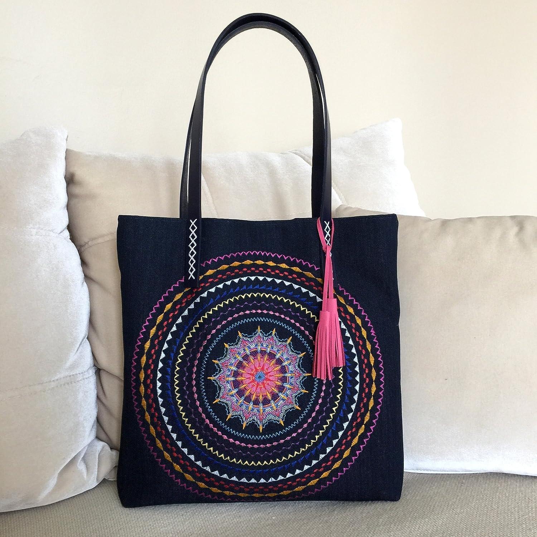 Embroidered mandalas bag