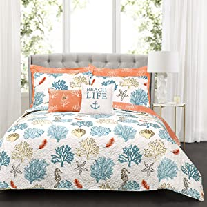 Lush Decor 7 Piece Coastal Reef Feather Quilt Set, King, Blue & Coral