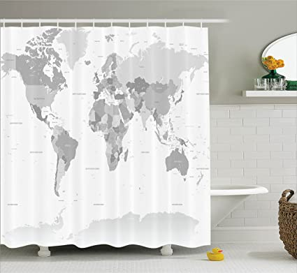 Ambesonne Grey Decor Shower Curtain Detailed World Map With All Countries And Major Capital Cities