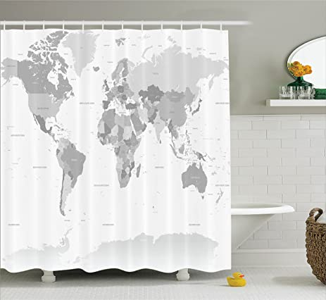 Amazon grey decor shower curtain by ambesonne detailed world grey decor shower curtain by ambesonne detailed world map with all countries and major capital gumiabroncs Image collections