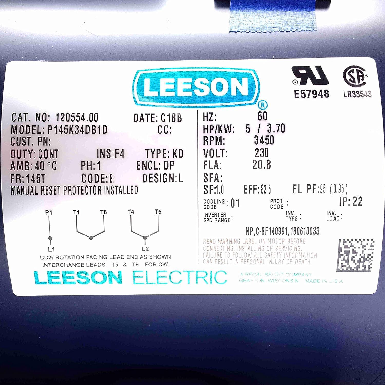 New Leeson Electric Motor 5hp 1ph 230volt 145t 3450 Rpm 7 8 Shaft Instant Motors Wiring Diagram 120554 Air Compressor Accessories