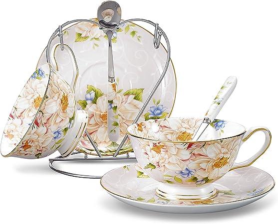 Variété Bone China Tea Tasse à Café Soucoupe Cuillère ensembles Luxe Porcelaine Tea Cup Set