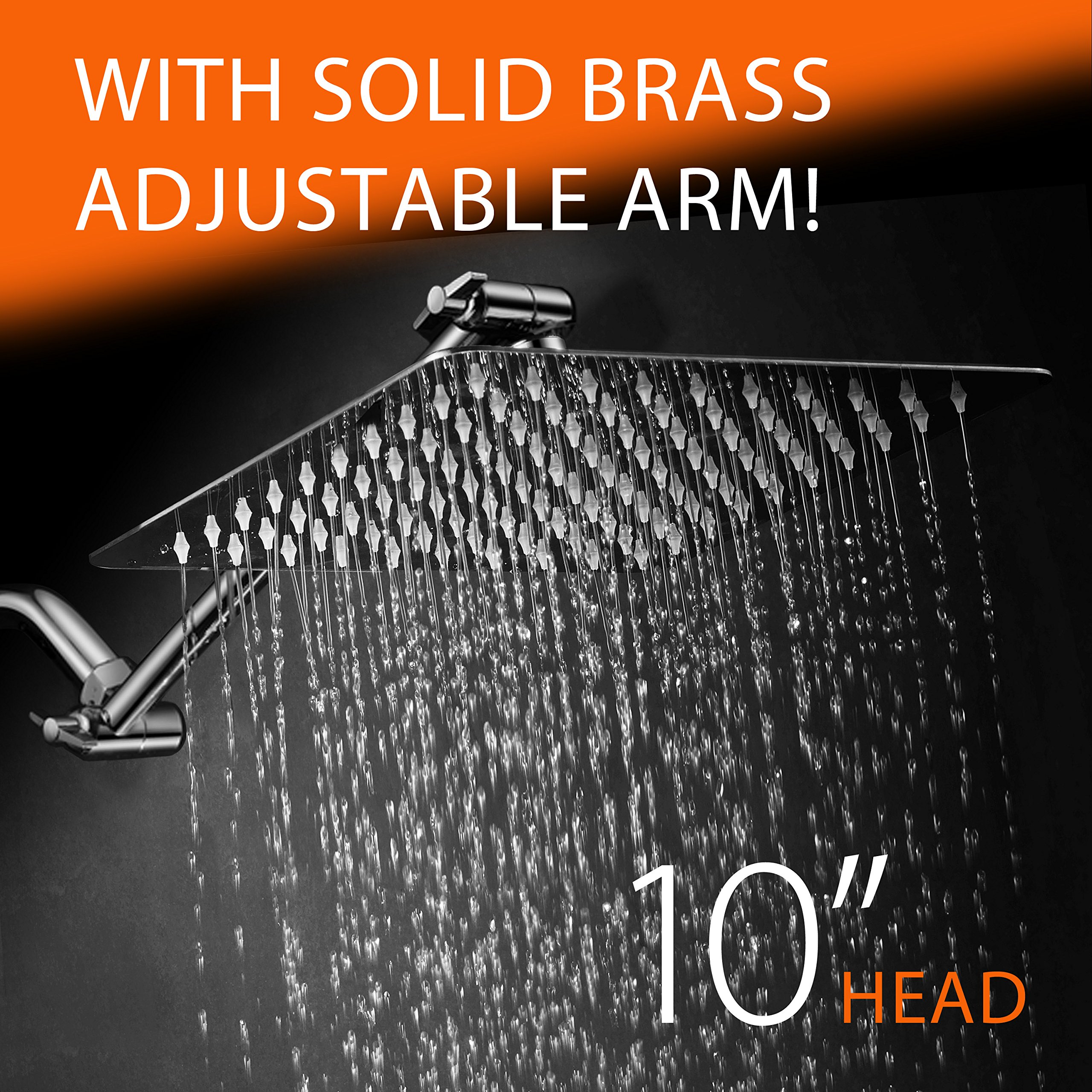 """Hotelspa Giant 10"""" Stainless Steel Rainfall Square Showerhead With Solid Bras.. 14"""