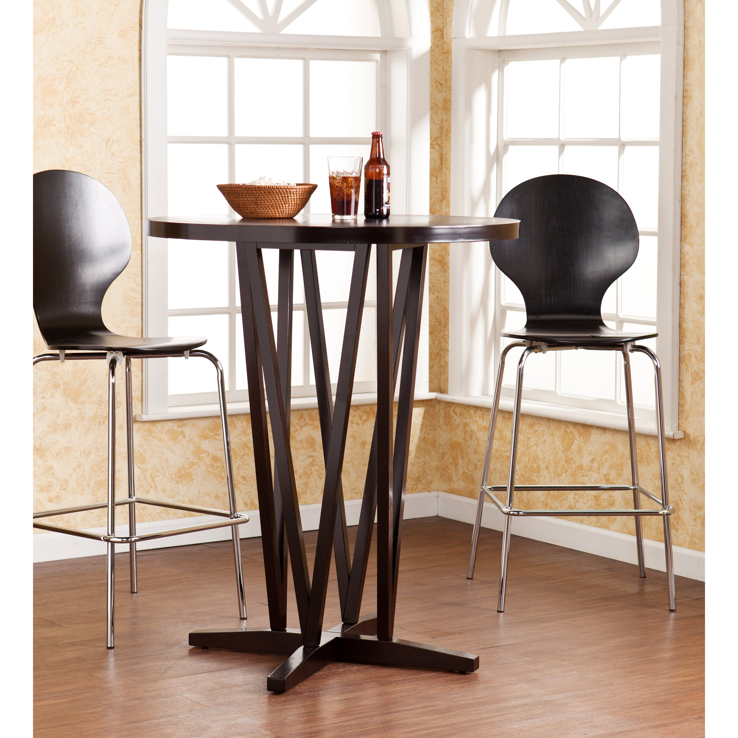 Devon 43'' Bar Table - Dark Expresso Finish w/ Grain Pattern - Space Saving Design by SEI