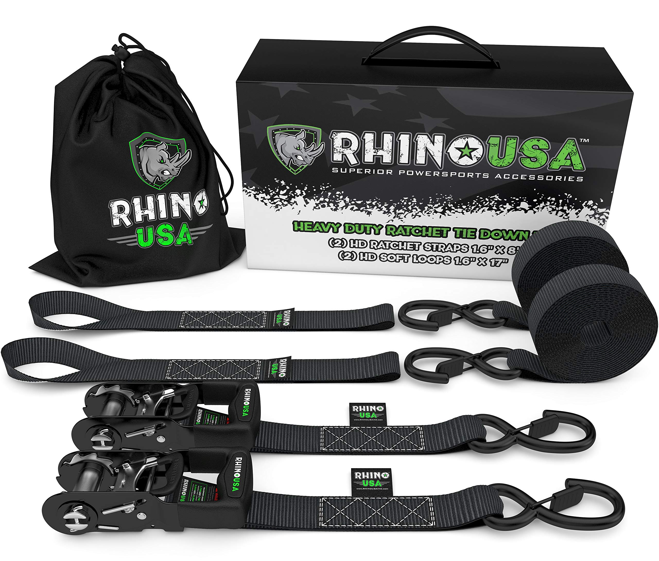 4PK RHINO USA Ratchet Tie Down Straps Includes BLACK Securing Cargo - 1,823lb Guaranteed Max Break Strength Best for Moving Premium 1 x 15 Rachet Tie Downs with Padded Handles 4