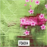 Paper decopath verd amb flors fucsia