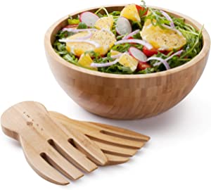 Avami Bamboo Collection Wood Salad Serving Bowl Large 9.6 inches Set with Servers Eco-Friendly and Perfect for Salad, Food, Vegetables and Fruit.