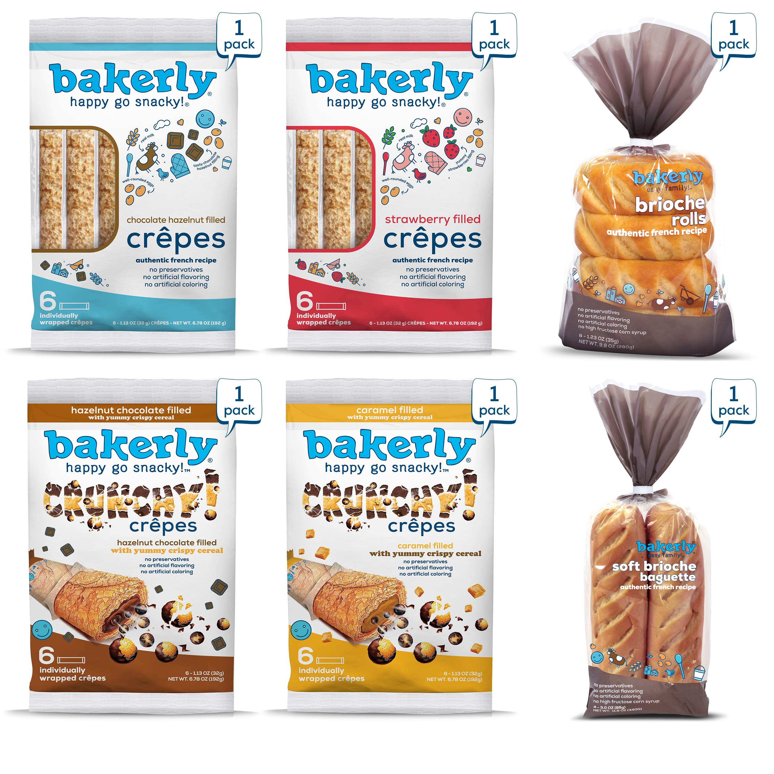 bakerly Filled Crepes & Brioches Variety Pack of 6 (24 Crepes + 4 Baguettes + 8 Brioche Rolls)