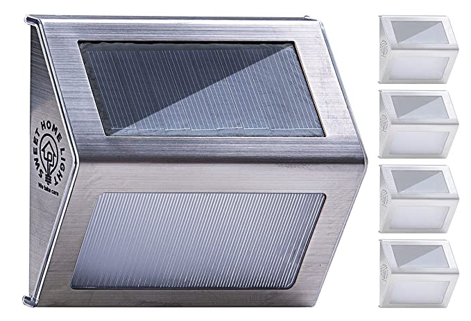 Solar Step Lights Outdoor Waterproof With 3 LEDs, Wireless Stainless Steel  Solar Stair Lights