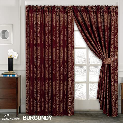 Fusion LUXURY JACQUARD Curtains Fully Lined Tape Top Pencil Pleat Curtains  (TM) (Sandra