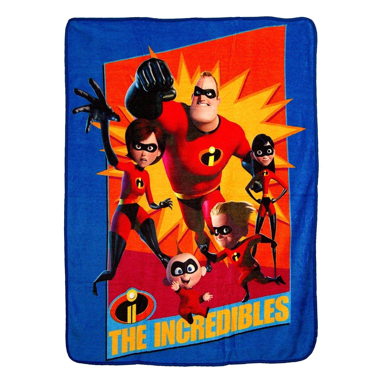 Disney-Pixars Incredibles 2,Family Heroes Micro Raschel Throw Blanket 46 x 60 Multi Color