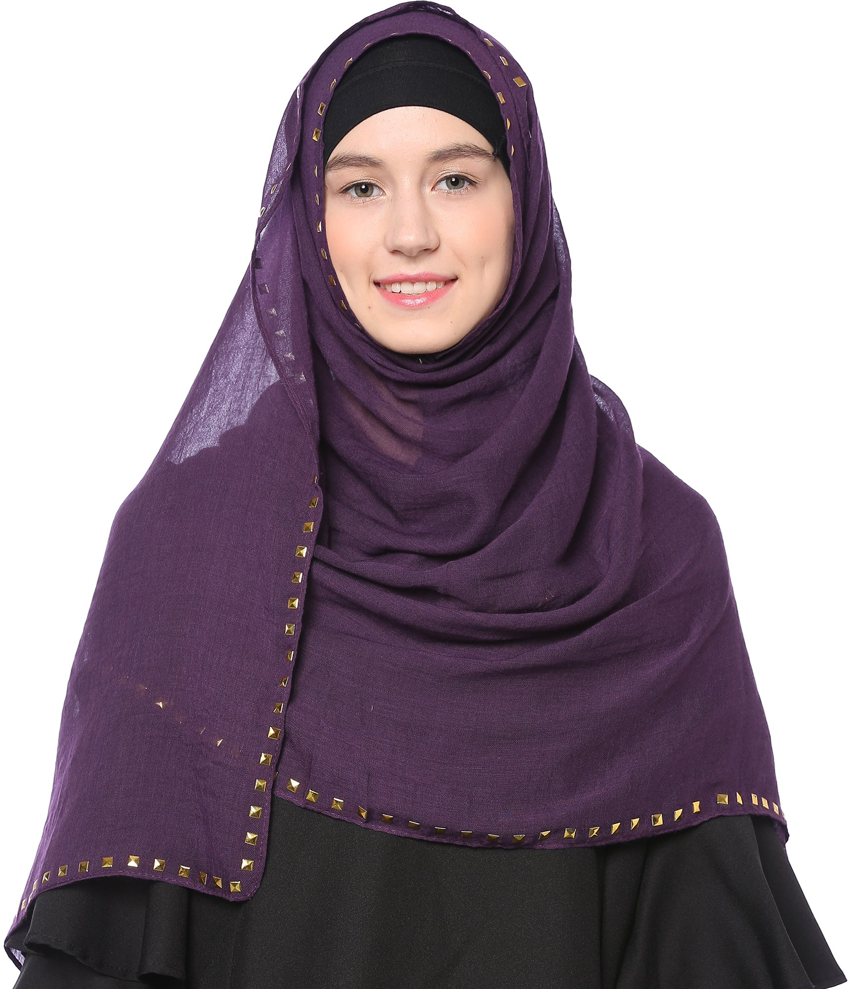 Ababalaya Fashion Stud Cotton Hijab Islamic Hijab,Indigo