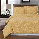 Honey-Beige and White Ema 3-piece King / Cal-king Duvet Cover Set 100 % Cotton 300 TC