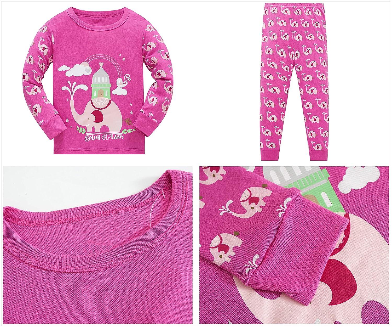 Pajamas for Girls Toddler Kids Long Sleeve Jammies Children Sleepwear 2-Piece Clothes Set Size 2-8T