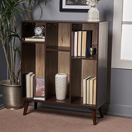 Elizabeth Mid Century Walnut Finished Faux Wood Bookshelf With Sanremo Oak Backing