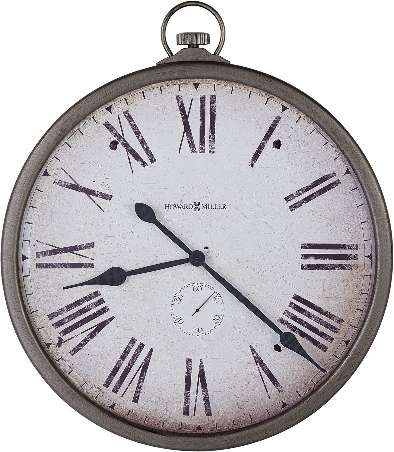 "Howard Miller Gallery Pocket Watch Wall Clock 625-572 – 35"" Oversized Antique Nickel Home Decor with Quartz Movement"
