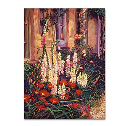 English Cottage Garden By David Lloyd Glover 14x19 Inch Canvas Wall Art