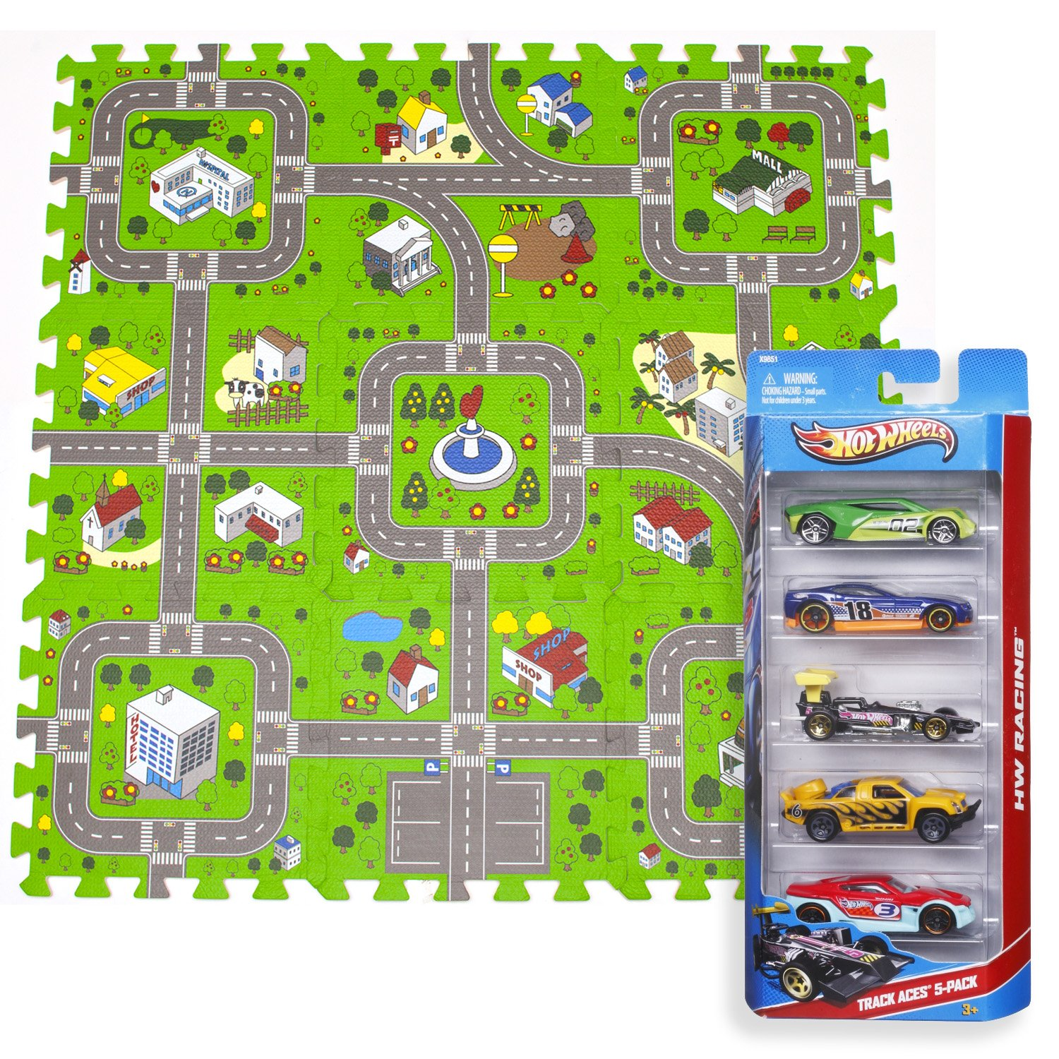 Exultimate Play Mat Road Toy Foam Playmat Interlocking Floor Puzzle Road Playroom Mat Interactive Play Set Bundle with Hot Wheels Cars 9 pc Car Set