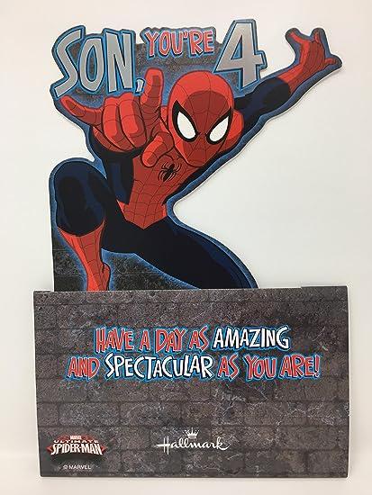 Hijo edad 4 cumpleaños Spiderman Stand Up 3d tarjeta Hallmark ...