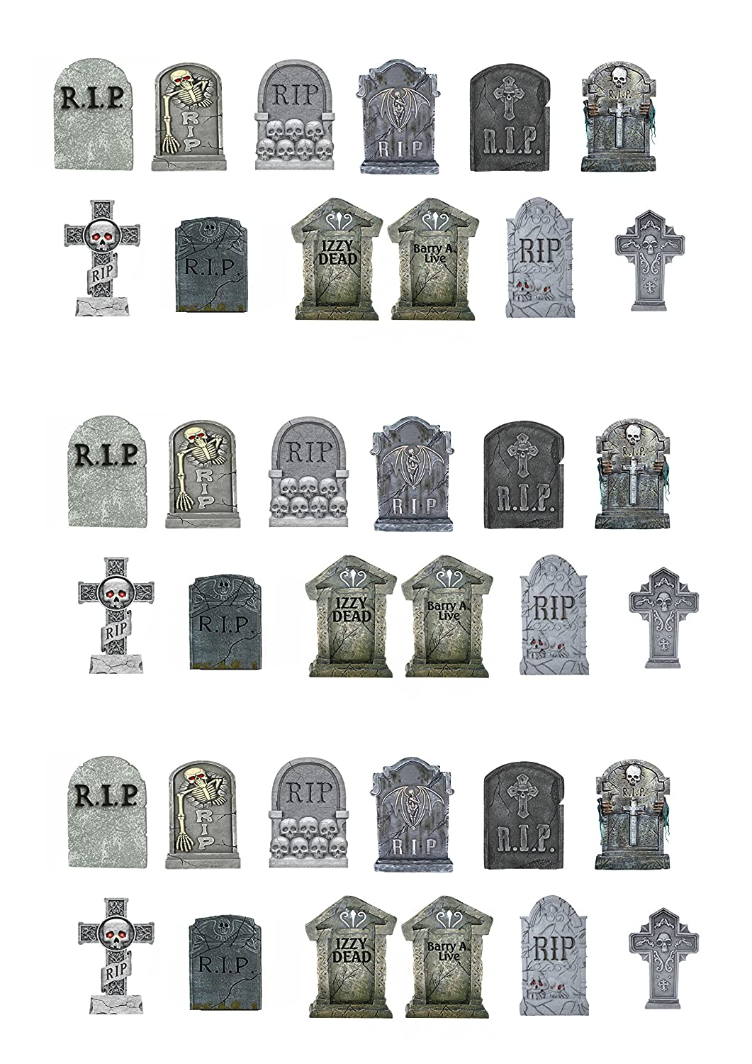 36 Stand Up Halloween Gravestones Premium Edible Wafer Paper Cake Toppers Decorations Top That