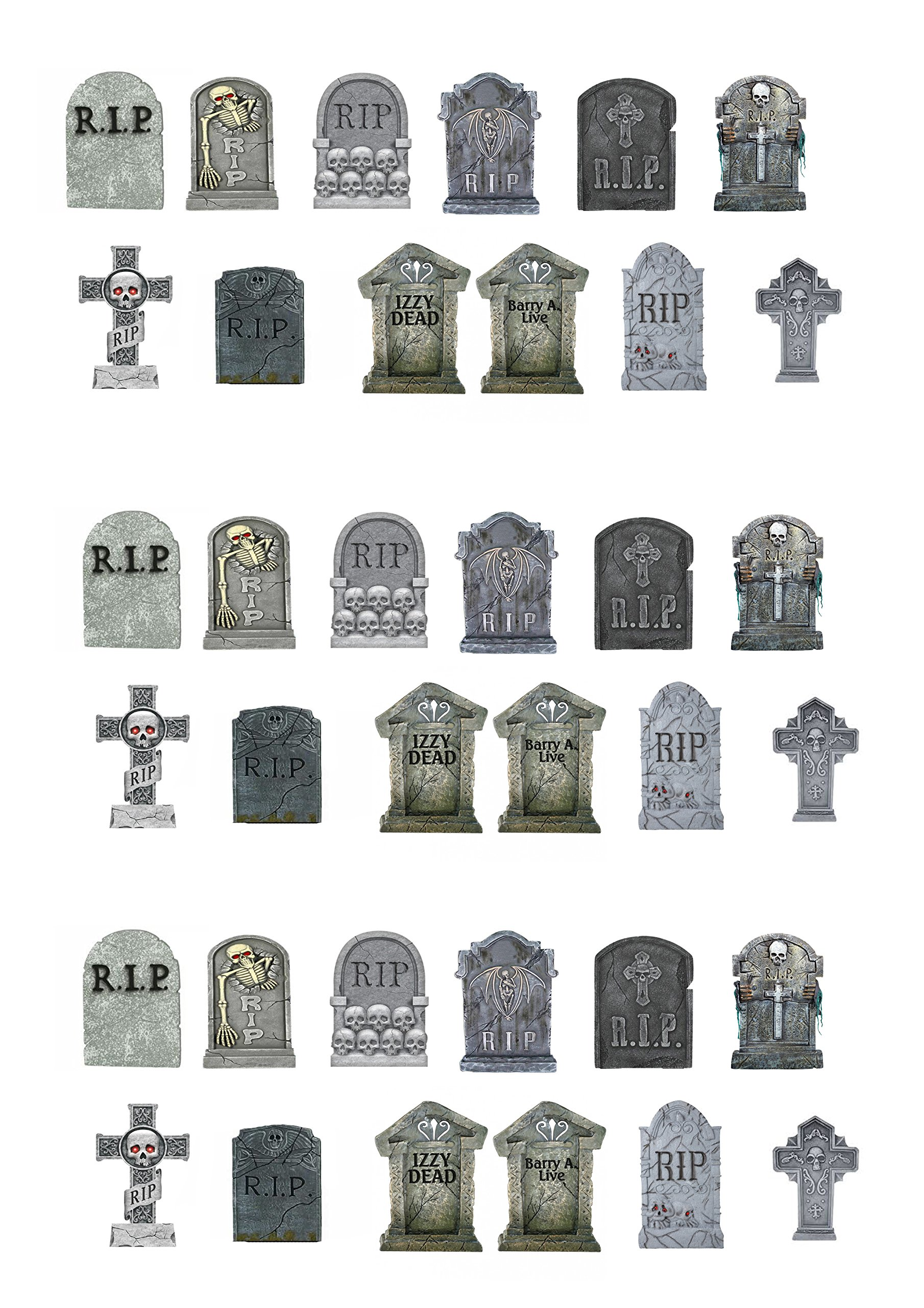 36 Stand Up Halloween Gravestones Premium Edible Wafer Paper Cake Toppers Decorations