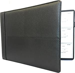 Premium Executive Check Binder, Black Padded Leather Look and Feel, 7 Ring w/Zip Pouch Checkbook Portfolio, For 9x13 Inch Sheets, 200 sheet 3 per Page Capacity for 600 checks, by Officewerks