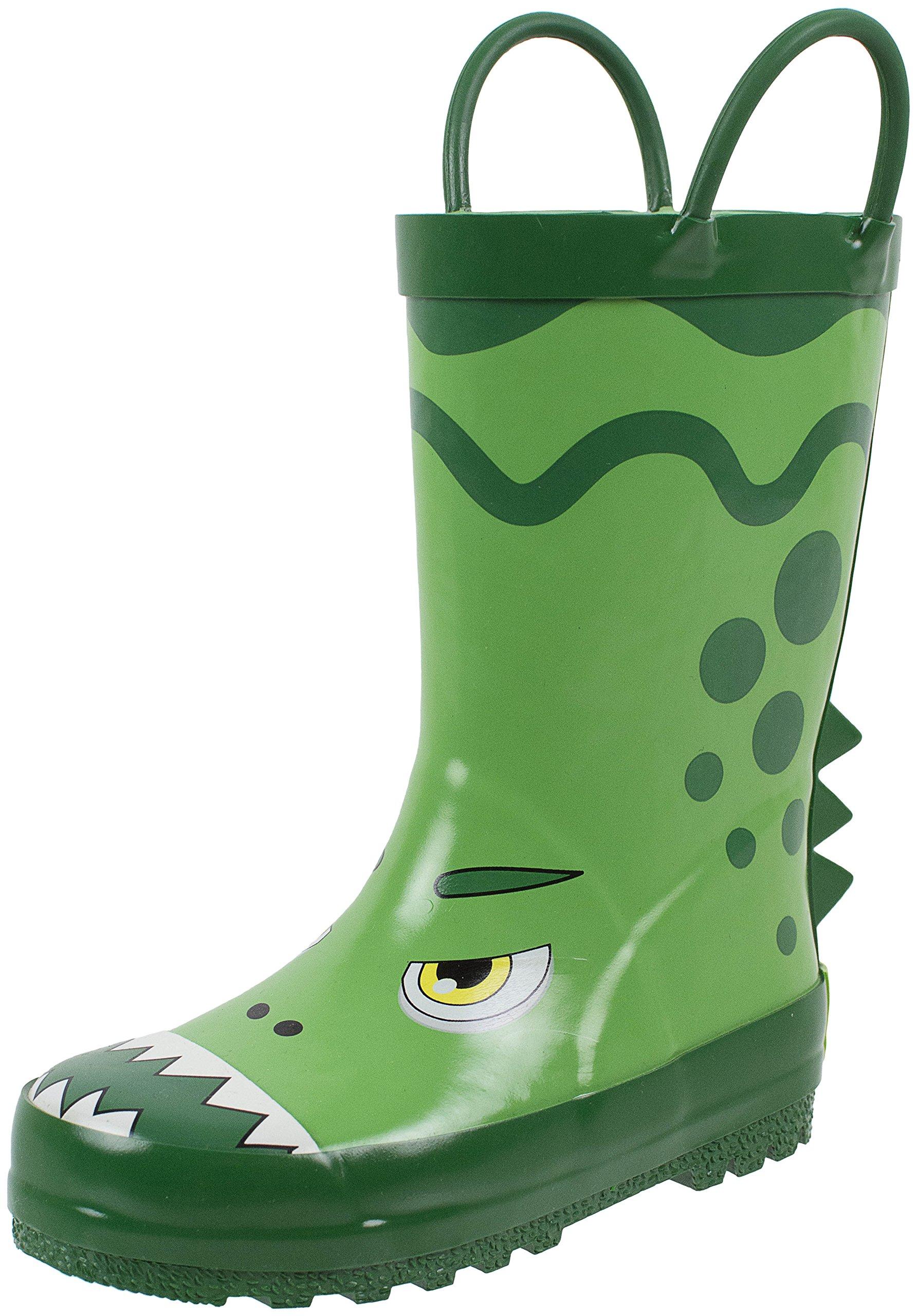 Rainbow Daze Dino Dragon Green Dragon Dinosaur Printed Rubber Rain Boots for Kids Size 9/10
