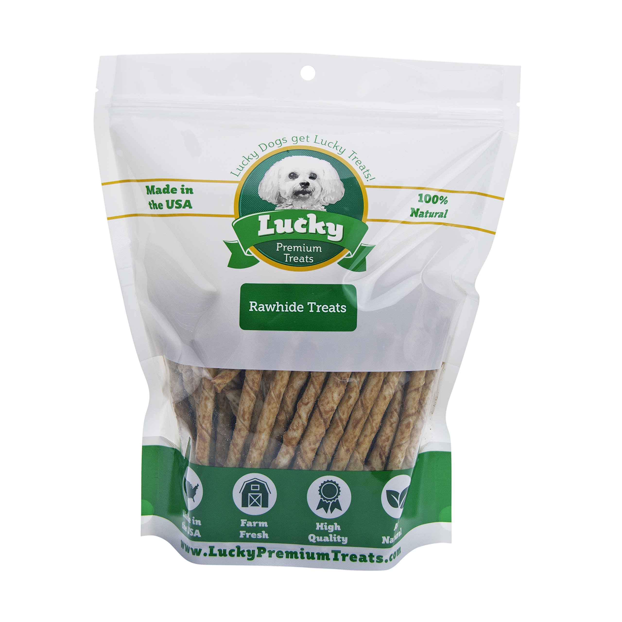 Peanut Butter Flavored Rawhide Dog Treats for Small Dogs Made in the USA Only by Lucky Premium Treats, 365 Chews