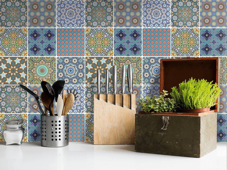 Fliesen-Mosaik Klebe-Folie | Aufkleber zum Fliesen überkleben | Deko ...