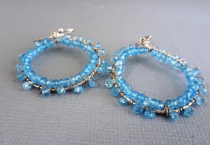 Amazon.com: Aquamarine Beaded hoop Earrings, Sterling Silver Hoop ...