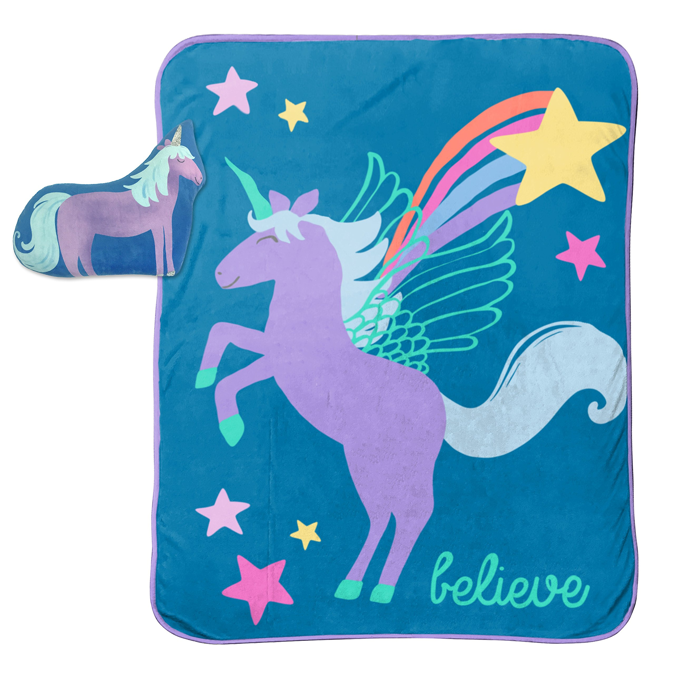 Limited Too Unicorn Believer 2-Piece Plush 40'' x 50'' Travel Throw and 10'' Pillow Set